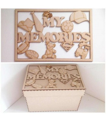 Laser Cut 'My Memories' Boys Memory Box - Large Box Frame Top